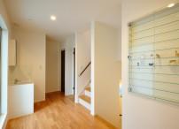 ⑨2階ホール(造り付け洗面台、ロフト階段、フィギアガラスケース)